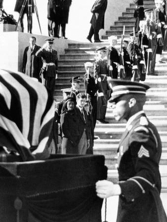 Jacqueline Kennedy in a Widow's Veil, Watches as Coffin of Pres John Kennedy, Is Placed on Caisson