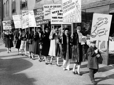 Housewife Members of the Chicago Federation of Consumers Demonstrate Against Wartime Inflation