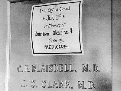 Doctor Protesting the New Medicare Program