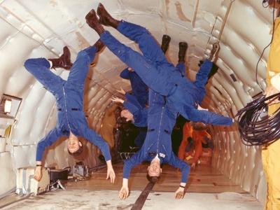 Space Shuttle Astronauts in Zero Gravity Training
