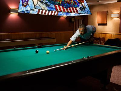Pres Barack Obama Plays Game of Pool Following Conclusion of G8 Summit, Camp David, May 19, 2012
