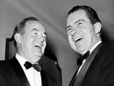 Vice President Hubert Humphrey and Former VP Richard Nixon Wearing Tuxedos, 1965