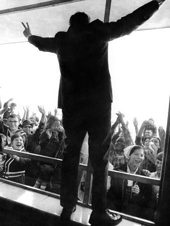 Former Vice President Richard Nixon in His Uniquely Styled Victory Posture