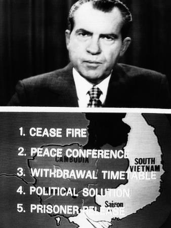 Television Screen from President Richard Nixon's 14-Minute Address of New Vietnam Peace Initiative