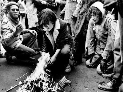 Anti-War Demonstrators Burn American Flags Along Nixon Inaugural Parade Route, Jan 20, 1969