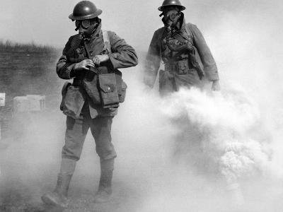 Gas Masked Soldier Walk Through Actual Gas Attack During Training, Edgewood, Maryland, Apr 7, 1939
