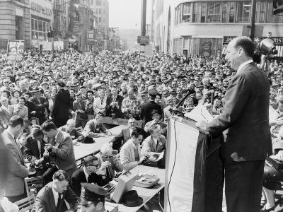 1956 Democratic Presidential Nominee Adlai Stevenson, Speaking to a Crowd at Paterson, New Jersey