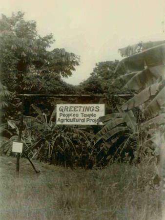 Sign at the Entrance of People's Temple Agricultural Project, Jonestown, Guyana, Nov 1978