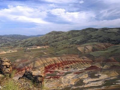 Painted Hills from the Heights, John Day Fossil Beds National Monument, Mitchell, Oregon, USA