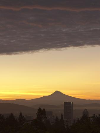 Dawn Sky over Portland and Mt. Hood, Oregon, USA