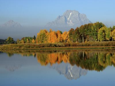Grand Tetons in Autumn from the Oxbow, Grand Teton National Park, Wyoming, USA