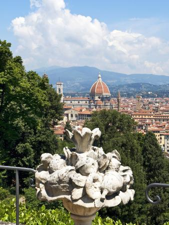 Panoramic View of Florence from Bardini Garden, Florence, UNESCO World Heritage Site, Italy