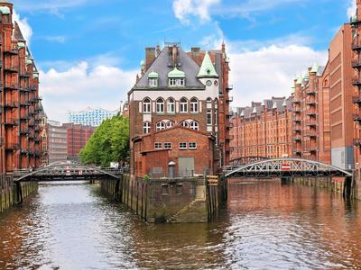 Waterfront Warehouses in the Speicherstadt Warehouse District of Hamburg, Germany