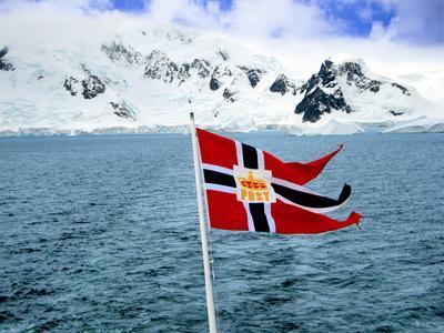 Hurtigruten Cruise Ship Postal Service Flag Displayed, Weddell Sea, Antarctica