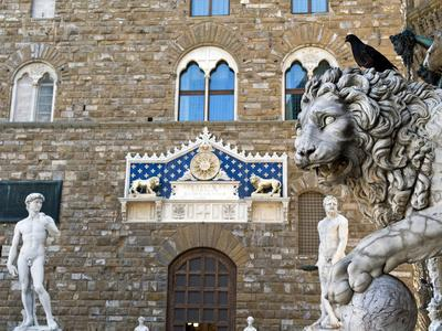 Palazzo Vecchio, Marzocco Lion and Statue of David, Piazza Della Signoria, UNESCO Heritage Site