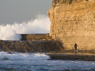 Surfer Sizing Up the Challenge, Santa Cruz Coast, California, USA
