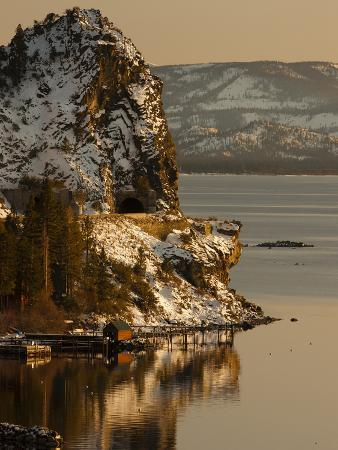 Cave Rock Tunnel Seen from Logan Shoals East Side Lake Tahoe Nevada, USA