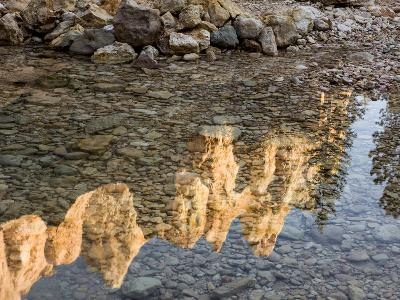 Peaks Reflecting in Small Pool at Mossy Cave at Bryce Canyon National Park, Utah, USA