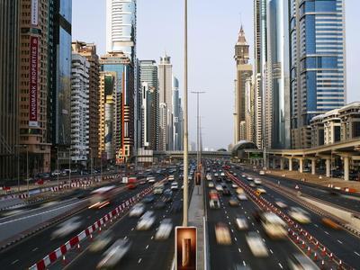 Traffic and New High Rise Buildings Along Sheikh Zayed Road, Dubai, United Arab Emirates