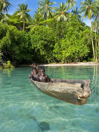 Young Boys Fishing in the Marovo Lagoon, Solomon Islands, Pacific