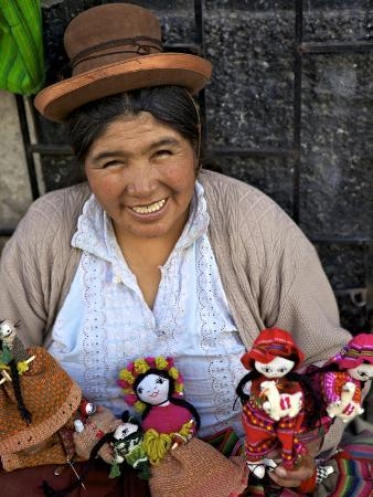 Indigenous Lady Selling Dolls, Arequipa, Peru, South America