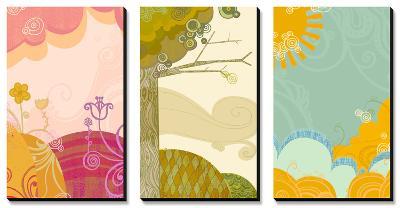 Retro Landscapes Triptych