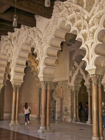Marble Columns and Typical Polylobe Arches Inside Aljaferia Palace Saragossa (Zaragoza), Spain