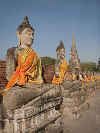 Old Buddha Statue in Wat Yai Chaimongkol Temple, Ayutthaya, UNESCO World Heritage Site, Thailand