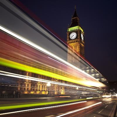Traffic Light Trails in Front of Big Ben, Houses of Parliament, London, England, UK, Europe