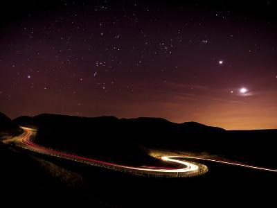 Light Trails and Stars Cape with Venus, Jupiter, Orion and Moon, Peak District Nat'l Park, England