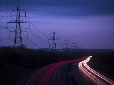 M40 Motorway Light Trails and Power Cables at Dusk, Oxfordshire, England, United Kingdom, Europe
