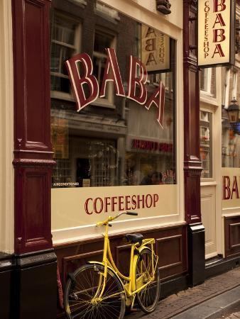 Bicycle Outside Coffee Shop, Amsterdam, Holland, Europe