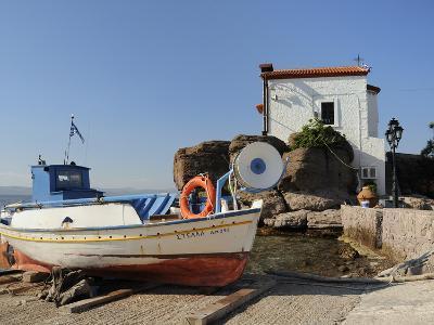 Fishing Boat Stella on Ramp Near Small Chapel at Skala Sikaminia, Lesbos (Lesvos), Greece