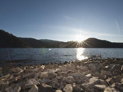 Sun over the Lake, Coeur D'Alene Lake, Idaho, United States of America, North America