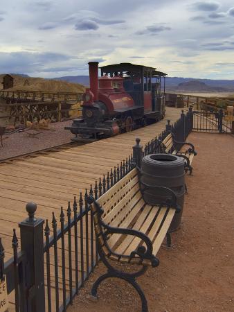 Old Train in a Ghost Town, Calico, Yermo, Mojave Desert, California, USA, North America