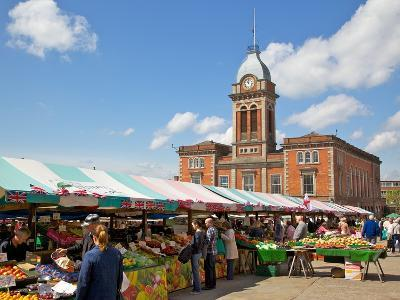 Market Hall and Market Stalls, Chesterfield, Derbyshire, England, United Kingdom, Europe