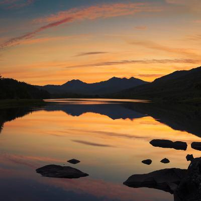 View of the Snowdon Horseshoe at Sunset from Llynau Mymbyr, Capel Curig, Wales, UK, Europe