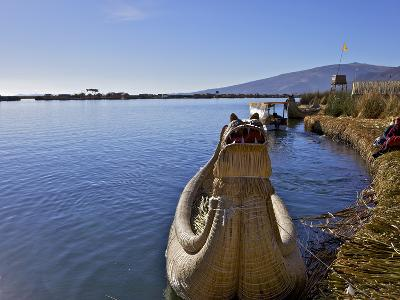 Floating Islands of Uros People, Traditional Reed Boats and Reed Houses, Lake Titicaca, Peru
