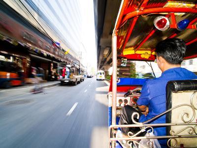 Tuk Tuk Driver Speeding in Bangkok, Thailand, Southeast Asia, Asia