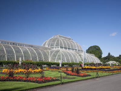 Palm House Parterre with Floral Display, Royal Botanic Gardens, UNESCO World Heritage Site, England