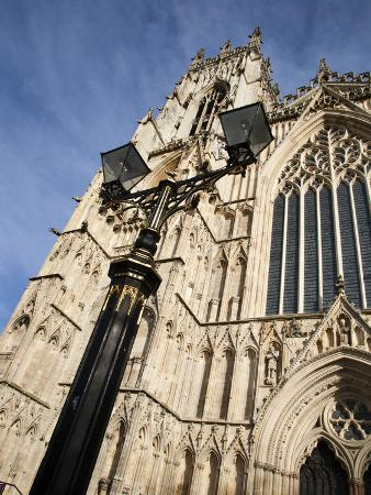 Street Lamp and West Front of York Minster, York, Yorkshire, England