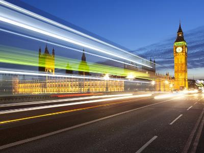 Motion Blurred Bus on Westminster Bridge and Houses of Parliament, London, England, UK, Europe
