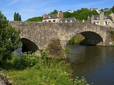View of Old Town Houses and Old Bridge over Rance River, Dinan, Cotes D'Armor, Brittany, France