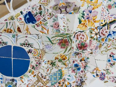 Mosaics, Guell Park (Parc Guell), UNESCO World Heritage Site, Barcelona, Spain