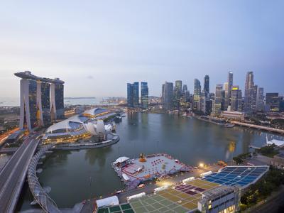 The Helix Bridge and Marina Bay Sands, Elevated View over Singapore, Marina Bay, Singapore