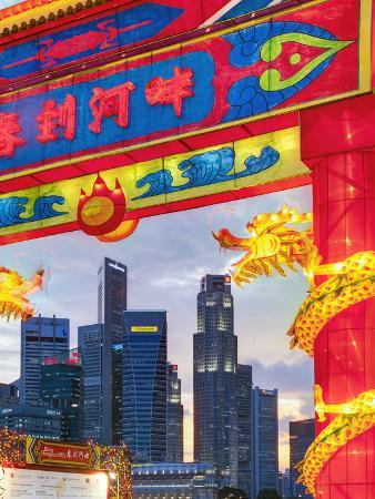 City Financial Skyline, River Hongbao Decorations for Chinese New Year Celebrations, Singapore