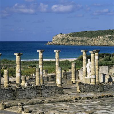 Roman Ruins with Statue of Emperor Trajan, Baelo Claudia, Near Tarifa, Andalucia, Spain, Europe