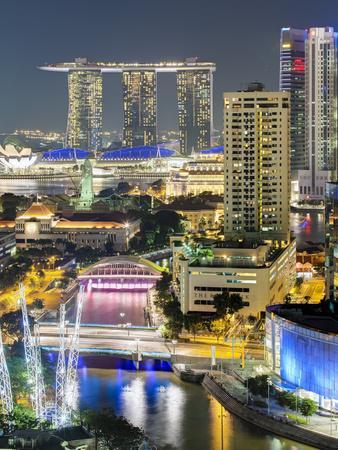 View over Entertainment District of Clarke Quay, Singapore River and City Skyline, Singapore