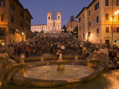 Spanish Steps and Trinita Dei Monti Church, Rome, Lazio, Italy, Europe