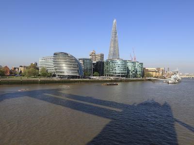 South Bank with City Hall, Shard London Bridge and More London Buildings, London, England